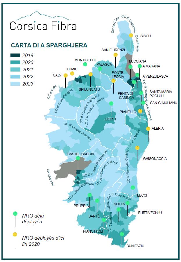 Planning de déploiement prévisionnel de la fibre en Corse