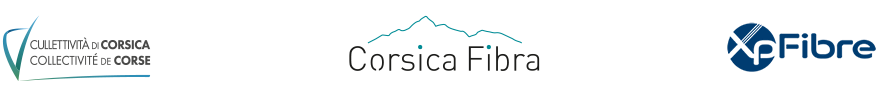 Footer logo : Collectivité de Corse, Corsica Fibra et SFR FTTH.